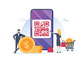QR code payment vector illustration concept, people use smartphone and scan qr code for payment and everything, can use