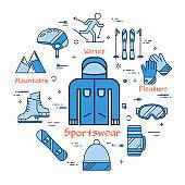 Blue round concept of winter sportswear, jacket