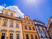 Colorful buildings, Prague old town square, Czech Republic