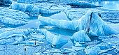 Jokulsarlon glacier lagoon panorama at dawn
