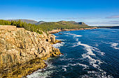 Aerial view of Acadia shore in Maine
