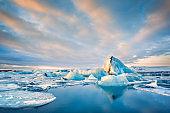 Icebergs float on Jokulsarlon glacier lagoon, in Iceland.