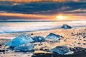 Ice blocks on Diamond beach in Jokulsarlon, Iceland