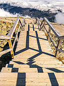 Wooden stairs descend from Mount Washington, New Hampshire