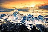 Drifting icebergs on Diamond beach