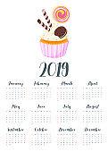 2019 year calendar with cupcake