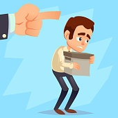 Employee gets fired from his work. Sad businessman holds box, hand pointing forward, you are fired text. Flat style vector illustration Cartoon characters eps10
