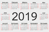 Calendar 2019 year. Vector circle calendar 2019. Week starts from Sunday and ends with Saturday.