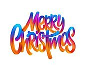 Merry christmas hand drawn oil paint lettering