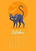 October 2018 year calendar page