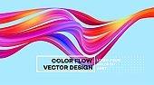 Modern colorful flow poster. Wave Liquid shape in color background. Art design for your design project. Vector illustration