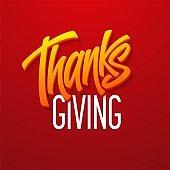 Happy thanksgiving brush hand lettering. Calligraphy vector illustration