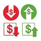 Dollar down and up icon set.