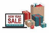 Gift boxes and shopping bags with notebook on white background. New Year sale