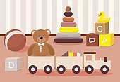 Teddy Bear and clorful toys, wooden toy train
