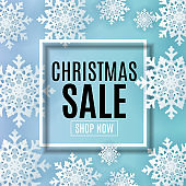 Abstract Vector Illustration Christmas Sale, Special Offer Background. Winter Hot Discount Card Template