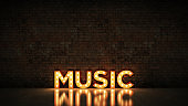 Neon Sign on Brick Wall background - Music. 3d rendering