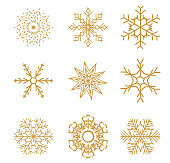 Set of Golden Snowflakes for Christmas design. Vector Illustration
