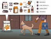 Man walking with dog. Pets accessories shop building,.
