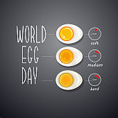 Three boiled eggs. World egg day card. Vector.