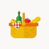 Picnic basket flat icon isolated on white background. Vector.