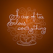 Handwritten lettering of a cup of tea. Vector illustration.