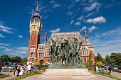 Calais Flemish and Neo-Renaissance City Hall and 6 Bourgeois Sculpture (France).