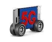 5G phone on white background. Isolated 3D illustration