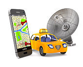 Service taxi on white background. Isolated 3D image
