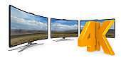 4K TV on white background. Isolated 3D illustration