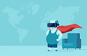 Vector of a fat young man with VR glasses in a room imagining being a super hero.