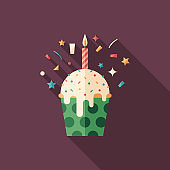 Birthday cupcake flat square icon with long shadows.