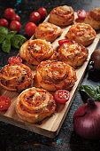 Home baked pizza rolls