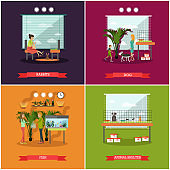 Vector set of pets posters in flat style