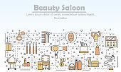 Beauty saloon advertising vector flat line art illustration