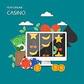 Online casino game concept vector flat illustration
