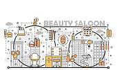 Beauty saloon concept vector flat line art illustration