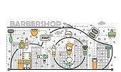 Barbershop concept vector flat line art illustration
