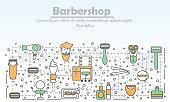 Barbershop advertising vector flat line art illustration