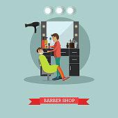 Barber shop concept vector illustration in flat style
