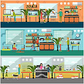 Vector set of pet shop concept posters in flat style