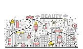 Vector thin line art beauty poster banner template