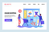Vector web site design template. Online shopping, internet clothes store. Sale and consumerism. Landing page concepts for website and mobile development. Modern flat illustration.