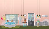 Spa aqua, facial and fish therapy concept vector illustration