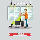 Haircut concept vector illustration in flat style