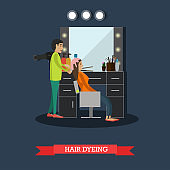 Hair dyeing concept vector illustration in flat style