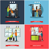 Vector set of hairdressing salon and tattoo parlor flat posters