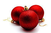 Christmas decoration red balls  isolated