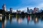 Bangkok beautiful view from Lumpini Park.