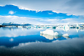 Icebergs floating on the beach Iceland